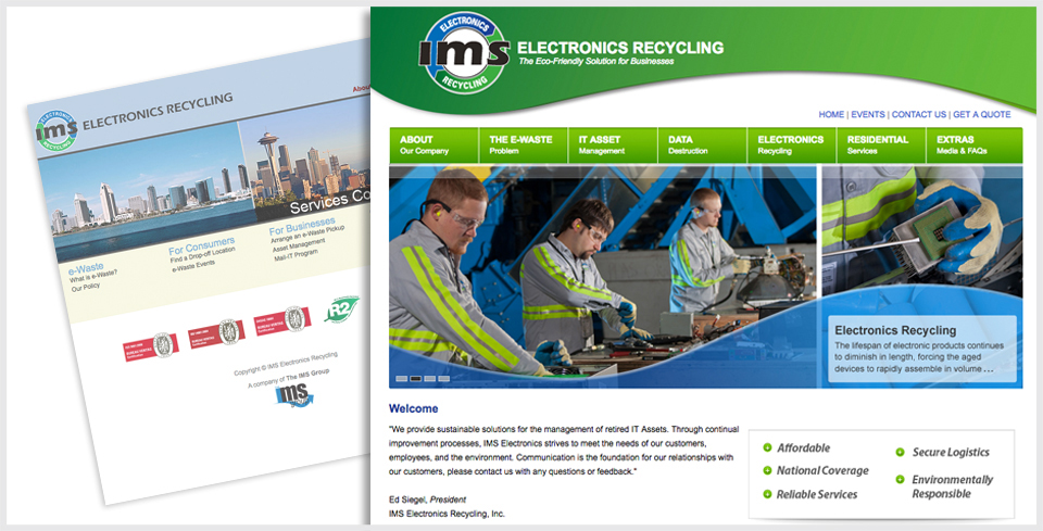 Custom WordPress Website Redesign for IMS Electronics Recycling