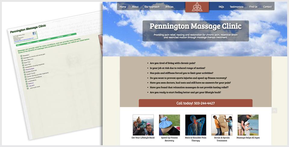 Custom WordPress Website Redesign for Pennington Massage Clinic