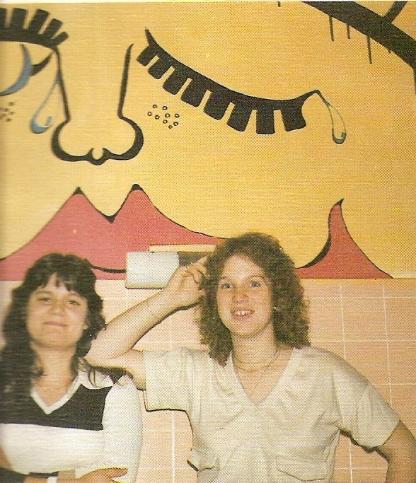 santiam high school bathroom mural tree brusasco on left amy blumenstein on right