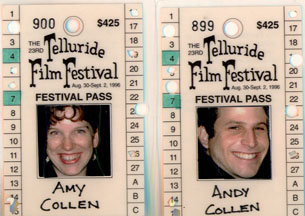 amy collen and andy collen telluride film festival passes 1996